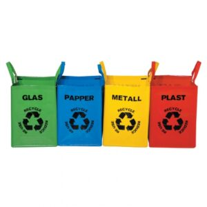 Källsortering glas, papper, metall & plast