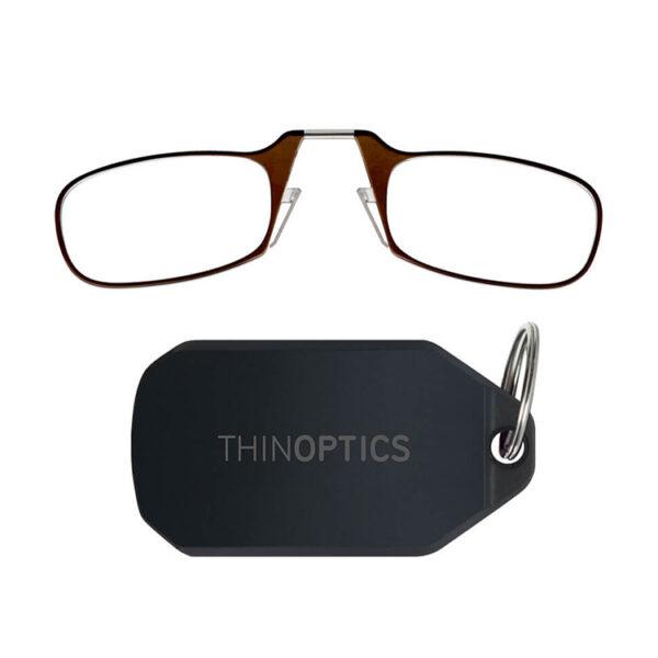 Hopfällbara läsglasögon med nyckelring, Brun